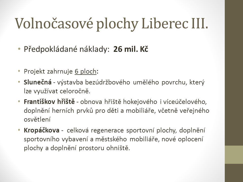 Volnočasové plochy Liberec III. Předpokládané náklady: 26 mil. Kč Projekt zahrnuje 6 ploch: Slunečná - výstavba bezúdržbového umělého povrchu, který l