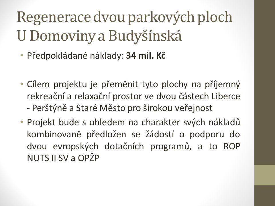 Regenerace dvou parkových ploch U Domoviny a Budyšínská Předpokládané náklady: 34 mil. Kč Cílem projektu je přeměnit tyto plochy na příjemný rekreační