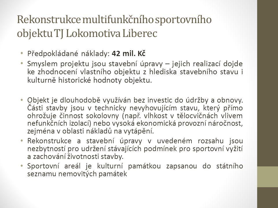 Rekonstrukce multifunkčního sportovního objektu TJ Lokomotiva Liberec Předpokládané náklady: 42 mil. Kč Smyslem projektu jsou stavební úpravy – jejich