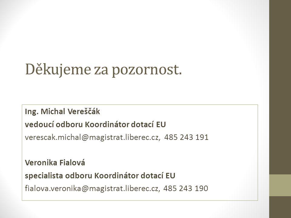 Děkujeme za pozornost. Ing. Michal Vereščák vedoucí odboru Koordinátor dotací EU verescak.michal@magistrat.liberec.cz, 485 243 191 Veronika Fialová sp