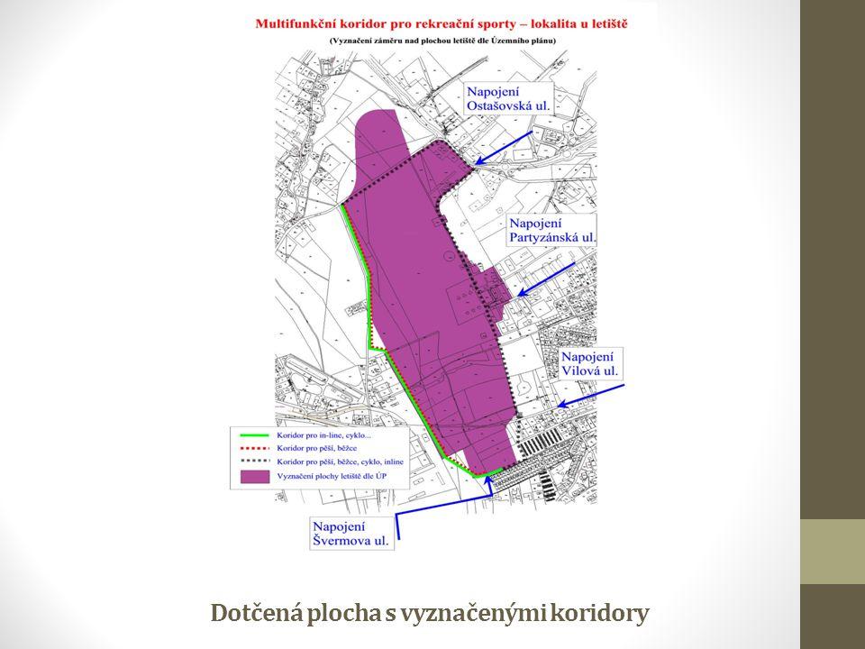 Dotčená plocha s vyznačenými koridory