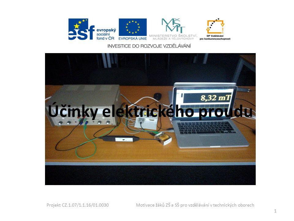Účinky elektrického proudu Projekt CZ.1.07/1.1.16/01.0030 Motivace žáků ZŠ a SŠ pro vzdělávání v technických oborech 1