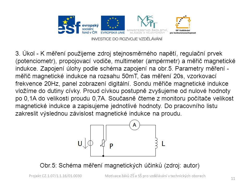 Projekt CZ.1.07/1.1.16/01.0030 Motivace žáků ZŠ a SŠ pro vzdělávání v technických oborech 11 3. Úkol - K měření použijeme zdroj stejnosměrného napětí,