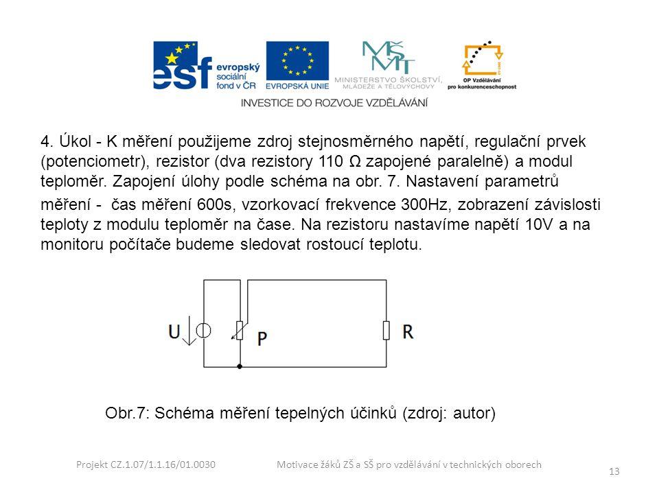 Projekt CZ.1.07/1.1.16/01.0030 Motivace žáků ZŠ a SŠ pro vzdělávání v technických oborech 13 4. Úkol - K měření použijeme zdroj stejnosměrného napětí,