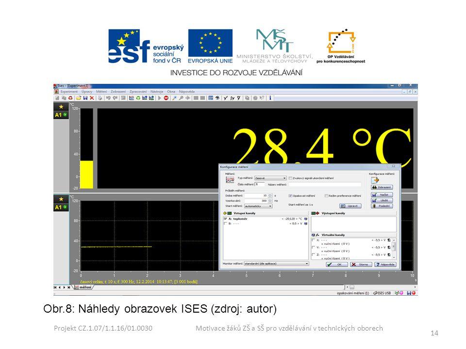 Projekt CZ.1.07/1.1.16/01.0030 Motivace žáků ZŠ a SŠ pro vzdělávání v technických oborech 14 Obr.8: Náhledy obrazovek ISES (zdroj: autor)