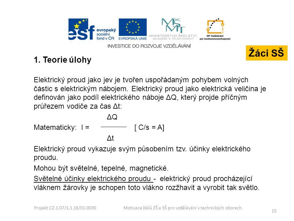 Projekt CZ.1.07/1.1.16/01.0030 Motivace žáků ZŠ a SŠ pro vzdělávání v technických oborech 15 1. Teorie úlohy Elektrický proud jako jev je tvořen uspoř