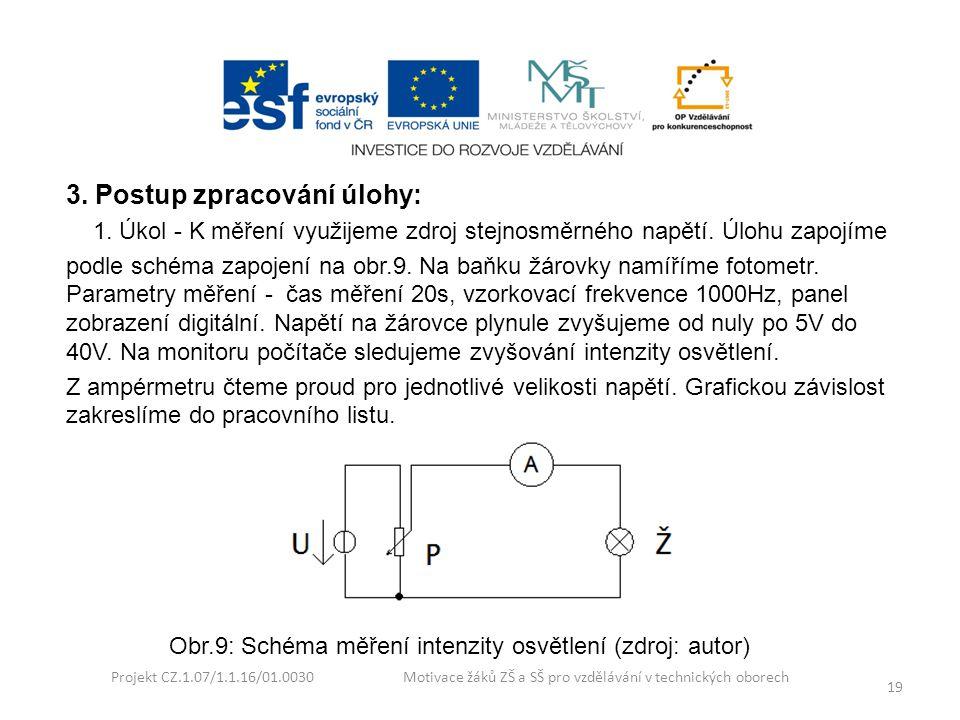 Projekt CZ.1.07/1.1.16/01.0030 Motivace žáků ZŠ a SŠ pro vzdělávání v technických oborech 19 3. Postup zpracování úlohy: 1. Úkol - K měření využijeme