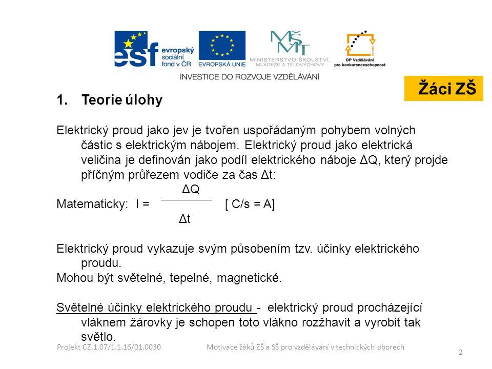 Projekt CZ.1.07/1.1.16/01.0030 Motivace žáků ZŠ a SŠ pro vzdělávání v technických oborech 3 Tepelné účinky elektrického proudu - elektrický proud procházející vodičem způsobuje podle Joulova – Lenzova zákona vznik tepla.