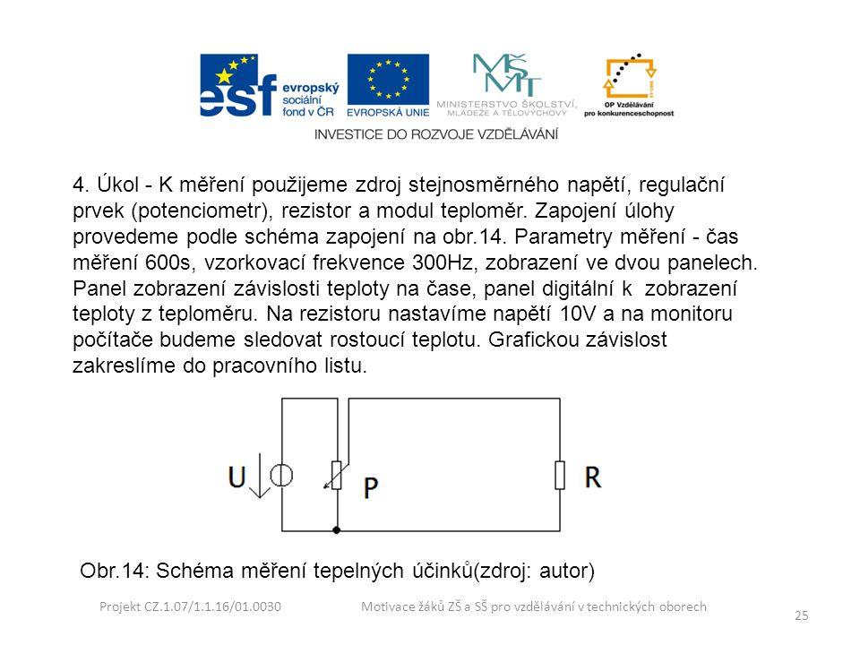 Projekt CZ.1.07/1.1.16/01.0030 Motivace žáků ZŠ a SŠ pro vzdělávání v technických oborech 25 4. Úkol - K měření použijeme zdroj stejnosměrného napětí,