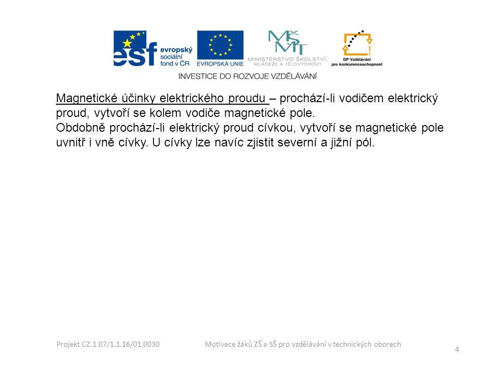 Projekt CZ.1.07/1.1.16/01.0030 Motivace žáků ZŠ a SŠ pro vzdělávání v technických oborech 4 Magnetické účinky elektrického proudu – prochází-li vodiče