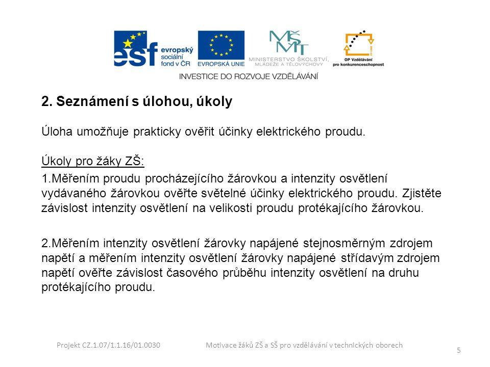 Projekt CZ.1.07/1.1.16/01.0030 Motivace žáků ZŠ a SŠ pro vzdělávání v technických oborech 6 3.