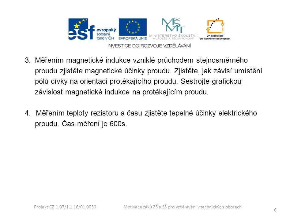 Projekt CZ.1.07/1.1.16/01.0030 Motivace žáků ZŠ a SŠ pro vzdělávání v technických oborech 6 3. Měřením magnetické indukce vzniklé průchodem stejnosměr