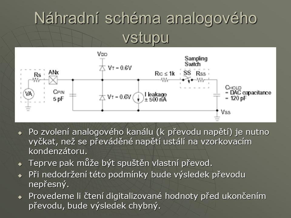 Náhradní schéma analogového vstupu PPPPo zvolení analogového kanálu (k převodu napětí) je nutno vyčkat, než se převáděné napětí ustálí na vzorkova