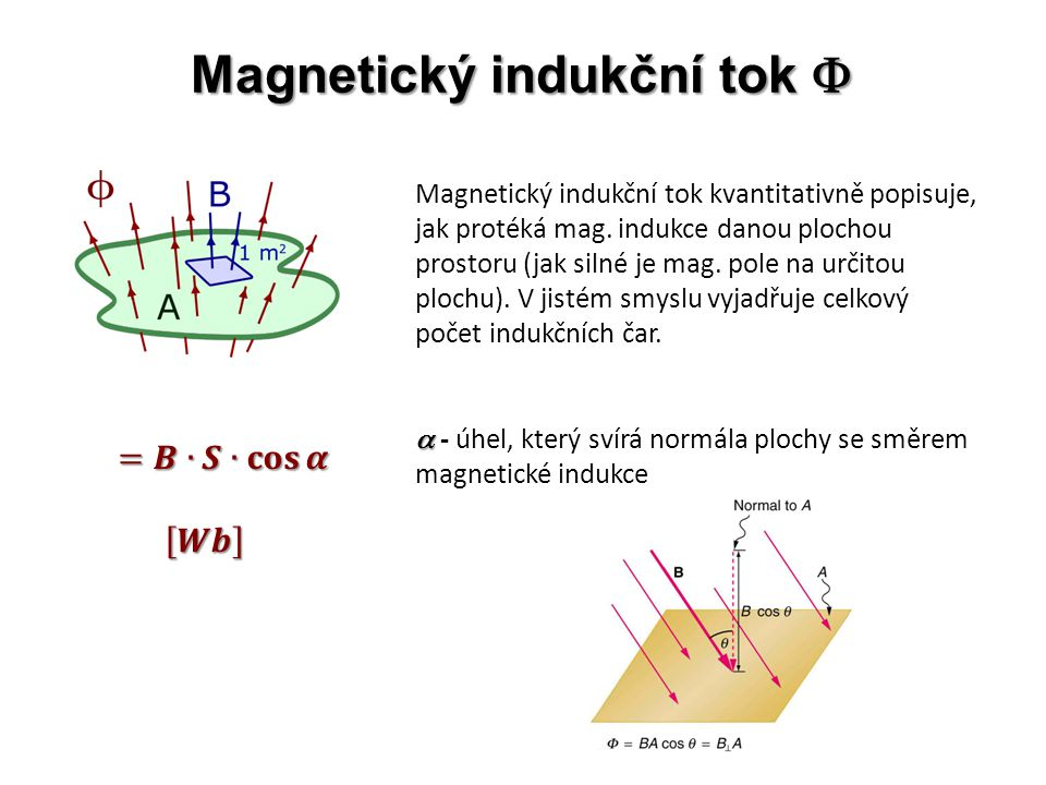 Magnetický indukční tok  Magnetický indukční tok kvantitativně popisuje, jak protéká mag.