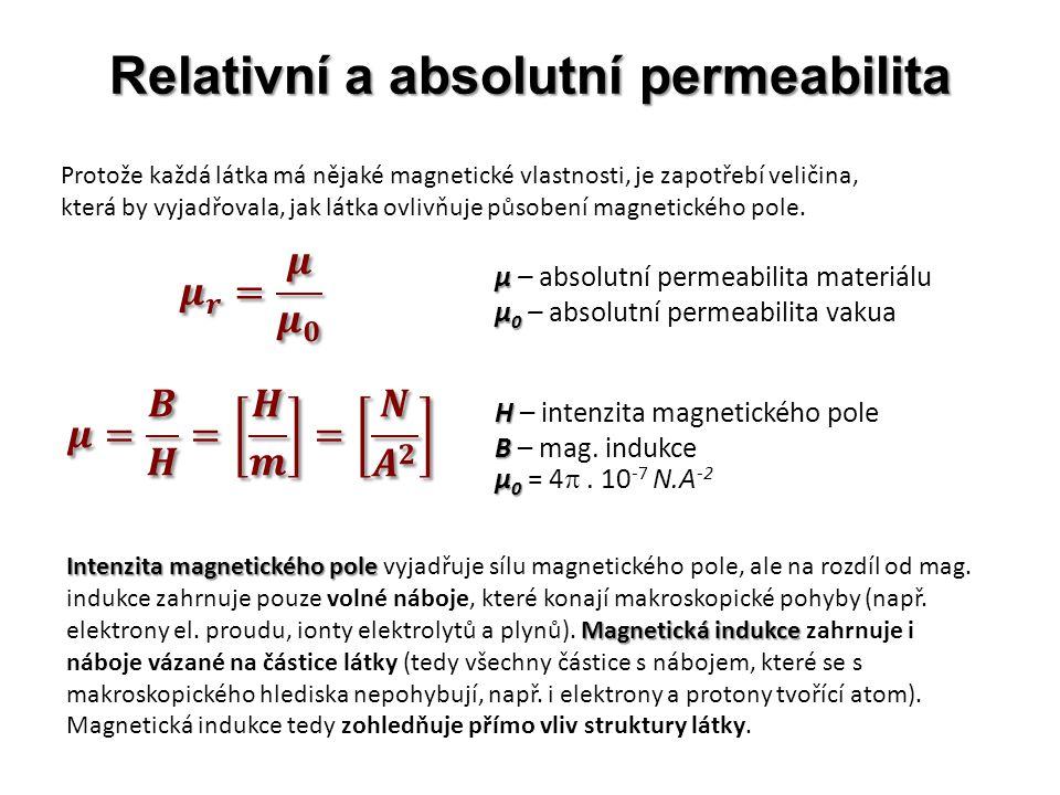 Relativní a absolutní permeabilita Protože každá látka má nějaké magnetické vlastnosti, je zapotřebí veličina, která by vyjadřovala, jak látka ovlivňu