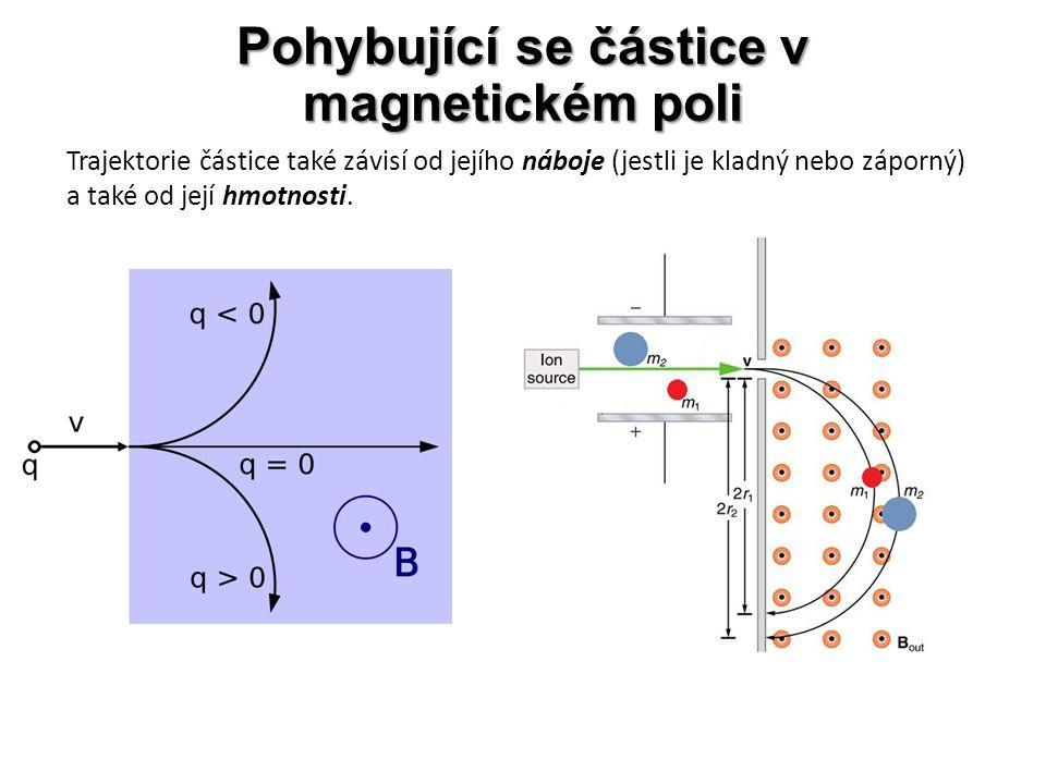 Pohybující se částice v magnetickém poli Trajektorie částice také závisí od jejího náboje (jestli je kladný nebo záporný) a také od její hmotnosti.