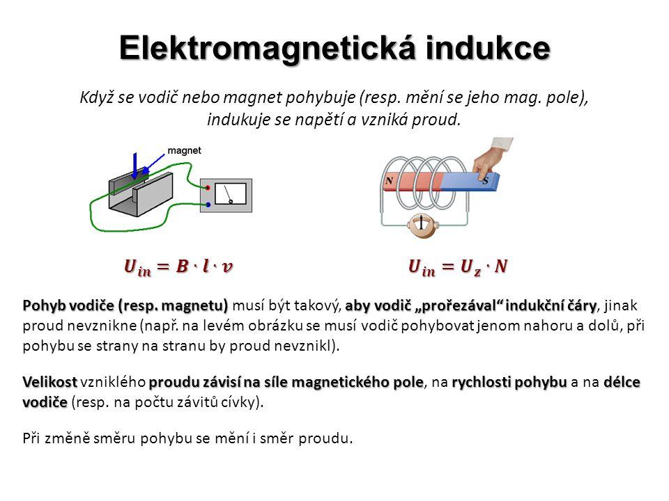 Elektromagnetická indukce Když se vodič nebo magnet pohybuje (resp. mění se jeho mag. pole), indukuje se napětí a vzniká proud. Pohyb vodiče (resp. ma