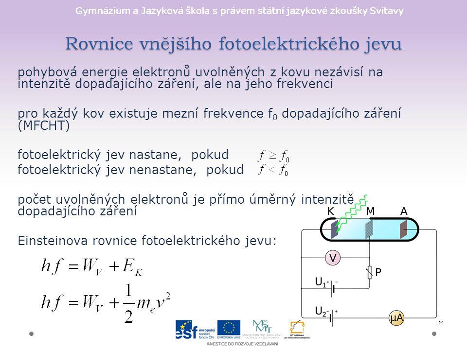 Gymnázium a Jazyková škola s právem státní jazykové zkoušky Svitavy Rovnice vnějšího fotoelektrického jevu pohybová energie elektronů uvolněných z kov