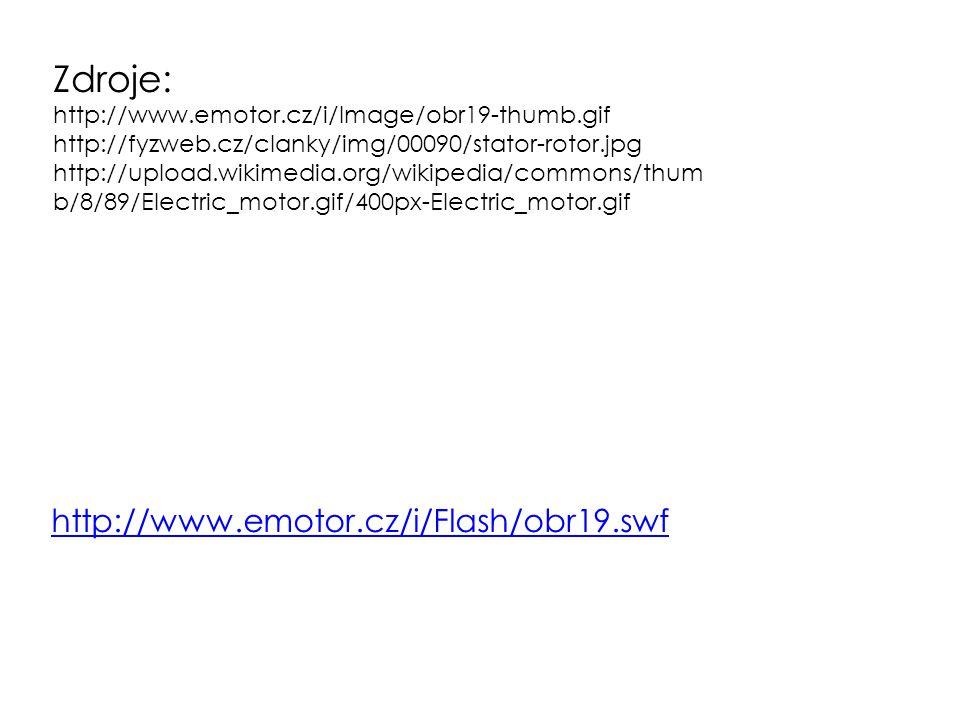 Zdroje: http://www.emotor.cz/i/Image/obr19-thumb.gif http://fyzweb.cz/clanky/img/00090/stator-rotor.jpg http://upload.wikimedia.org/wikipedia/commons/thum b/8/89/Electric_motor.gif/400px-Electric_motor.gif http://www.emotor.cz/i/Flash/obr19.swf