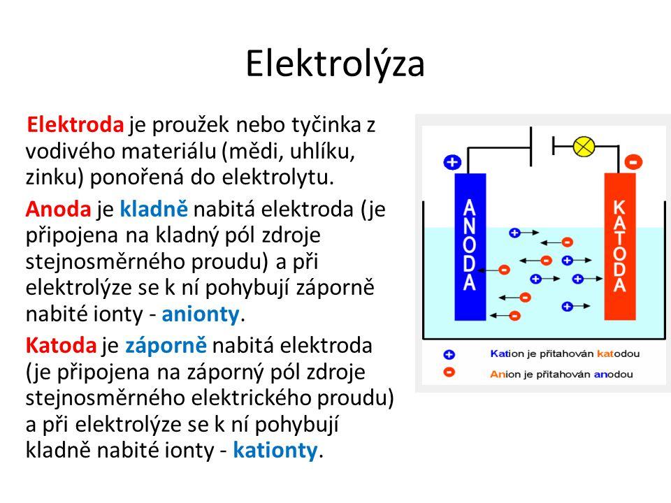 Elektrolýza Elektroda je proužek nebo tyčinka z vodivého materiálu (mědi, uhlíku, zinku) ponořená do elektrolytu. Anoda je kladně nabitá elektroda (je