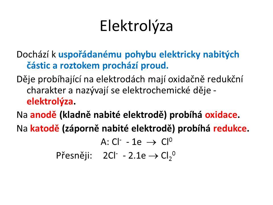 Elektrolýza Dochází k uspořádanému pohybu elektricky nabitých částic a roztokem prochází proud. Děje probíhající na elektrodách mají oxidačně redukční