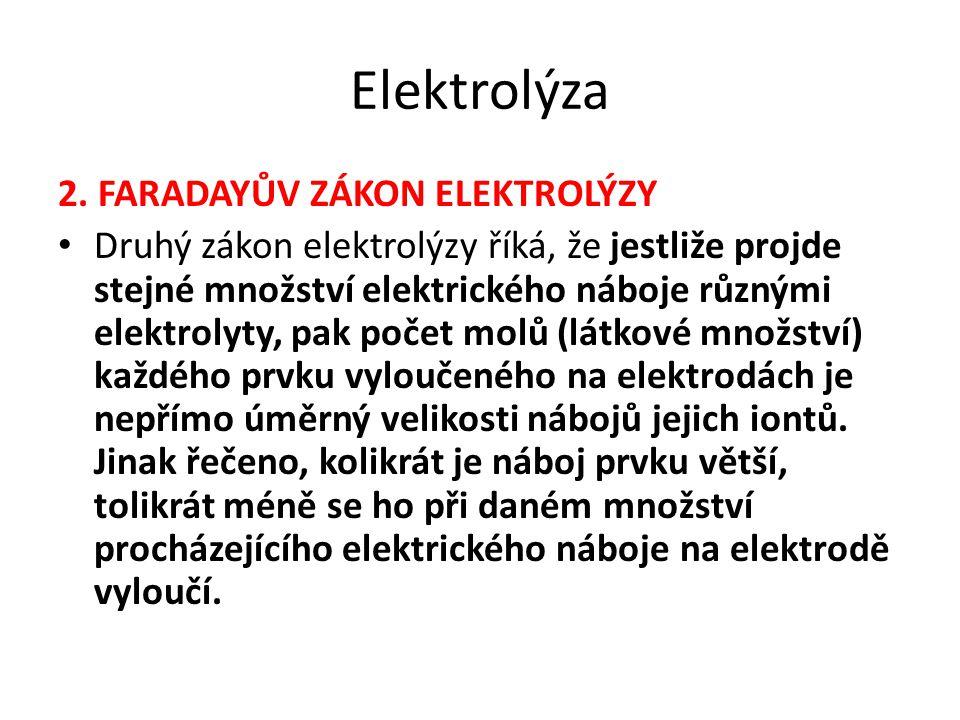 Elektrolýza 2. FARADAYŮV ZÁKON ELEKTROLÝZY Druhý zákon elektrolýzy říká, že jestliže projde stejné množství elektrického náboje různými elektrolyty, p