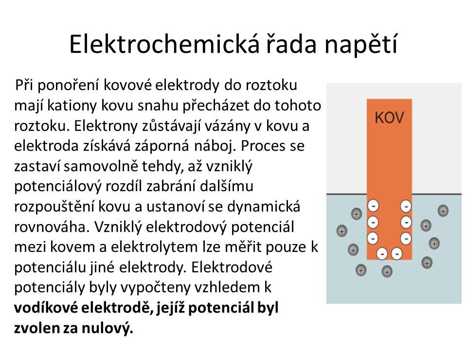 Elektrochemická řada napětí Při ponoření kovové elektrody do roztoku mají kationy kovu snahu přecházet do tohoto roztoku.