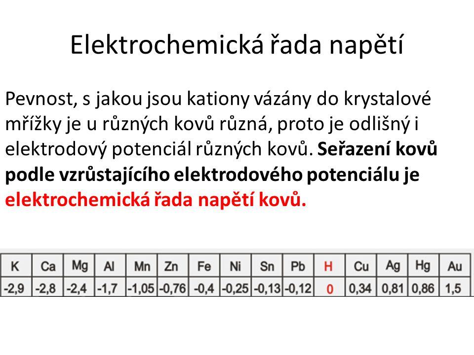 Elektrochemická řada napětí Pevnost, s jakou jsou kationy vázány do krystalové mřížky je u různých kovů různá, proto je odlišný i elektrodový potenciál různých kovů.