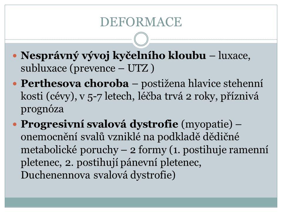 DEFORMACE Nesprávný vývoj kyčelního kloubu – luxace, subluxace (prevence – UTZ ) Perthesova choroba – postižena hlavice stehenní kosti (cévy), v 5-7 l