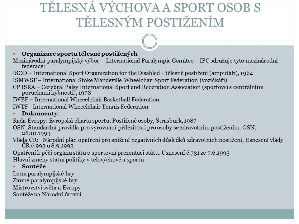 TĚLESNÁ VÝCHOVA A SPORT OSOB S TĚLESNÝM POSTIŽENÍM Organizace sportu tělesně postižených Mezinárodní paralympijský výbor – International Paralympic Co