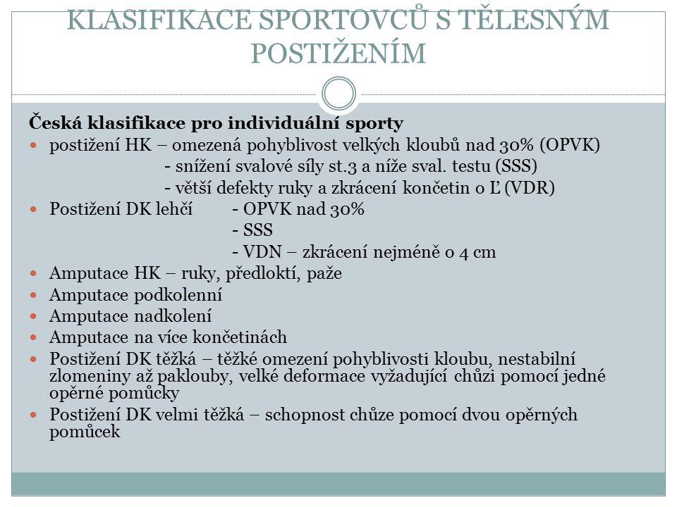 Česká klasifikace pro individuální sporty 1. postižení HK – omezená pohyblivost velkých kloubů nad 30% (OPVK) - snížení svalové síly st.3 a níže sval.