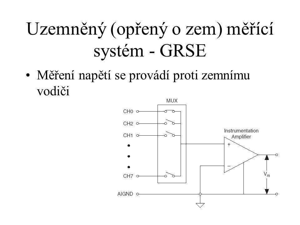 Nezemněné (pseudodiferenciální) měření - NRSE Měření napětí na různých vstupech proti společnému referenčnímu vodiči – není přímo spojen se zemí