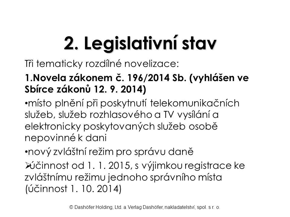 2. Legislativní stav Tři tematicky rozdílné novelizace: 1.Novela zákonem č. 196/2014 Sb. (vyhlášen ve Sbírce zákonů 12. 9. 2014) místo plnění při posk