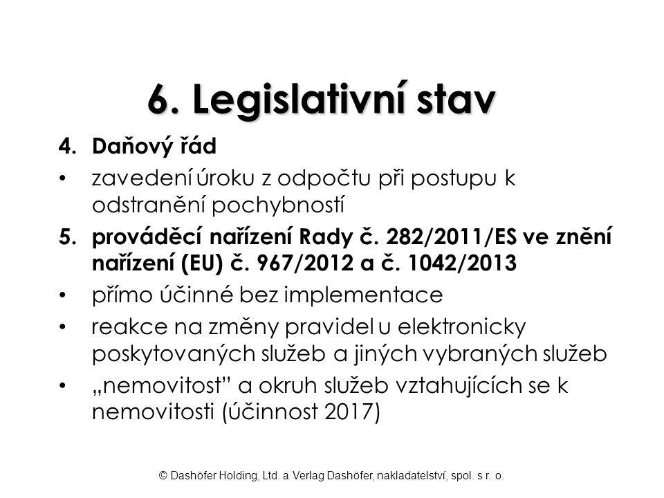 © Dashöfer Holding, Ltd. a Verlag Dashöfer, nakladatelství, spol. s r. o. 6. Legislativní stav 4.Daňový řád zavedení úroku z odpočtu při postupu k ods