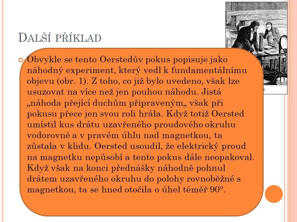 D ALŠÍ PŘÍKLAD Obvykle se tento Oerstedův pokus popisuje jako náhodný experiment, který vedl k fundamentálnímu objevu (obr.