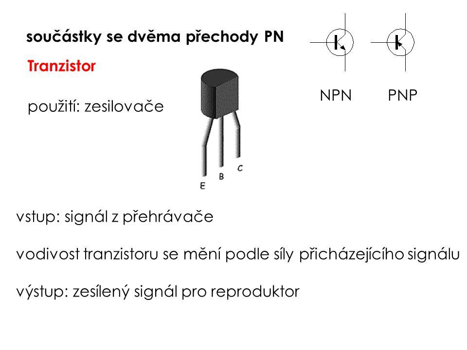 součástky se dvěma přechody PN Tranzistor použití: zesilovače vstup: signál z přehrávače vodivost tranzistoru se mění podle síly přicházejícího signálu výstup: zesílený signál pro reproduktor NPN PNP