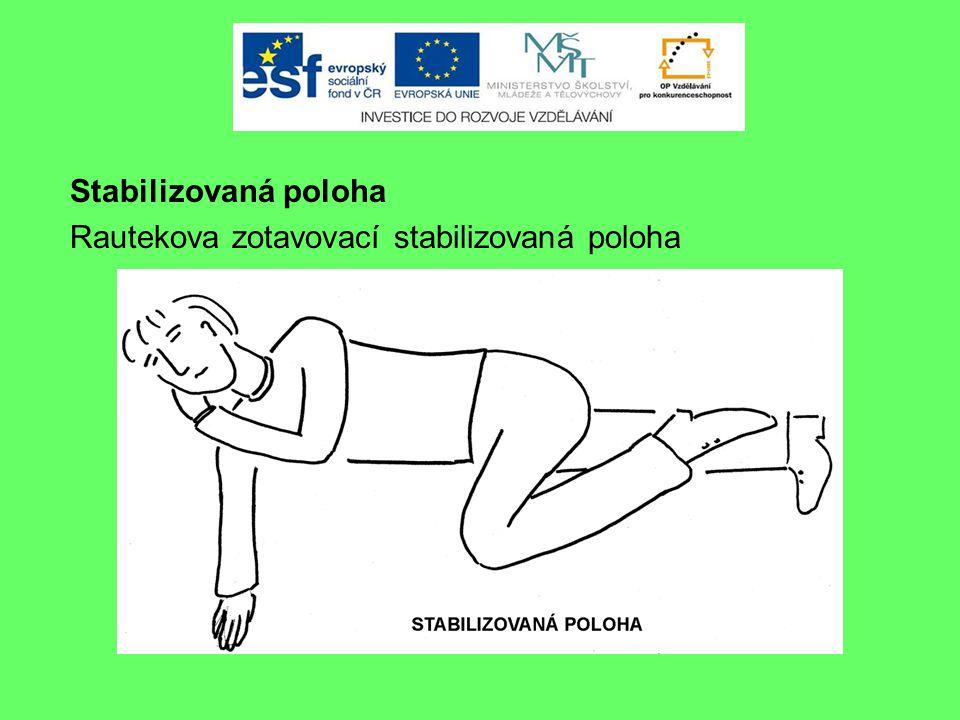 BEZVĚDOMÍ Stabilizovaná poloha Rautekova zotavovací stabilizovaná poloha