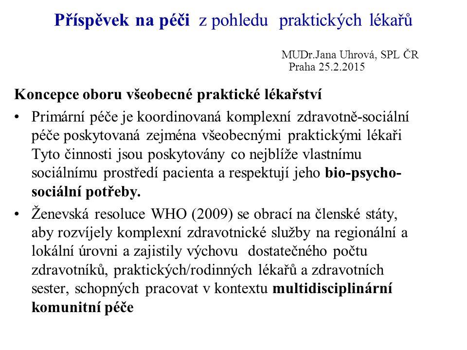 Příspěvek na péči z pohledu praktických lékařů MUDr.Jana Uhrová, SPL ČR Praha 25.2.2015 Koncepce oboru všeobecné praktické lékařství Primární péče je