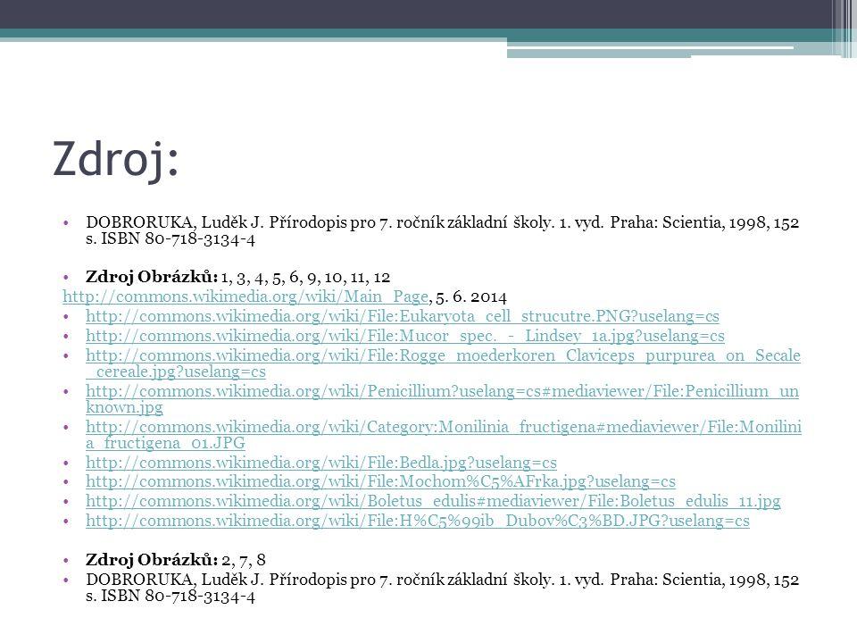 Zdroj: DOBRORUKA, Luděk J. Přírodopis pro 7. ročník základní školy. 1. vyd. Praha: Scientia, 1998, 152 s. ISBN 80-718-3134-4 Zdroj Obrázků: 1, 3, 4, 5