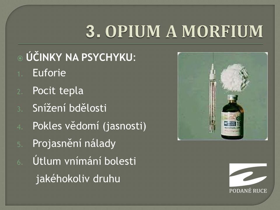  ÚČINKY NA PSYCHYKU: 1. Euforie 2. Pocit tepla 3. Snížení bdělosti 4. Pokles vědomí (jasnosti) 5. Projasnění nálady 6. Útlum vnímání bolesti jakéhoko