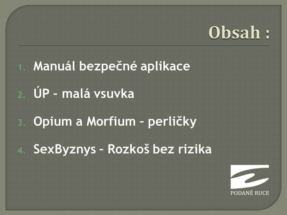 1. Manuál bezpečné aplikace 2. ÚP – malá vsuvka 3. Opium a Morfium – perličky 4. SexByznys – Rozkoš bez rizika