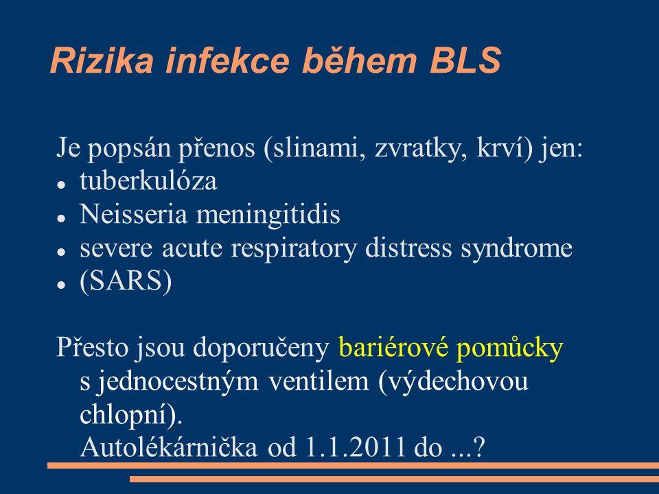 Rizika infekce během BLS Je popsán přenos (slinami, zvratky, krví) jen: tuberkulóza Neisseria meningitidis severe acute respiratory distress syndrome