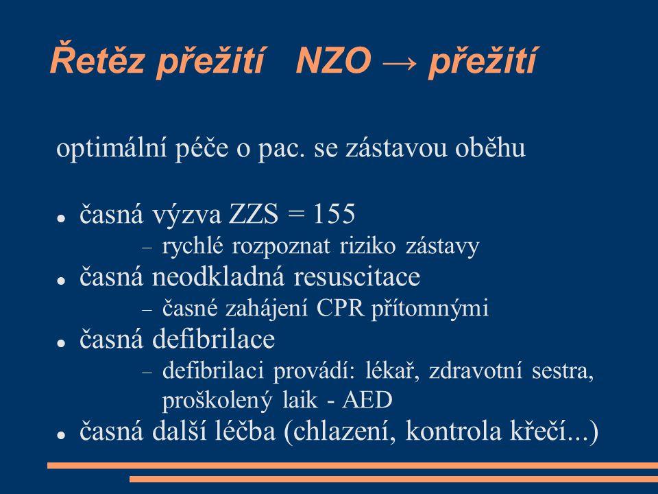 Řetěz přežití NZO → přežití optimální péče o pac. se zástavou oběhu časná výzva ZZS = 155  rychlé rozpoznat riziko zástavy časná neodkladná resuscita