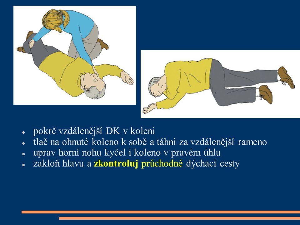 pokrč vzdálenější DK v koleni tlač na ohnuté koleno k sobě a táhni za vzdálenější rameno uprav horní nohu kyčel i koleno v pravém úhlu zakloň hlavu a