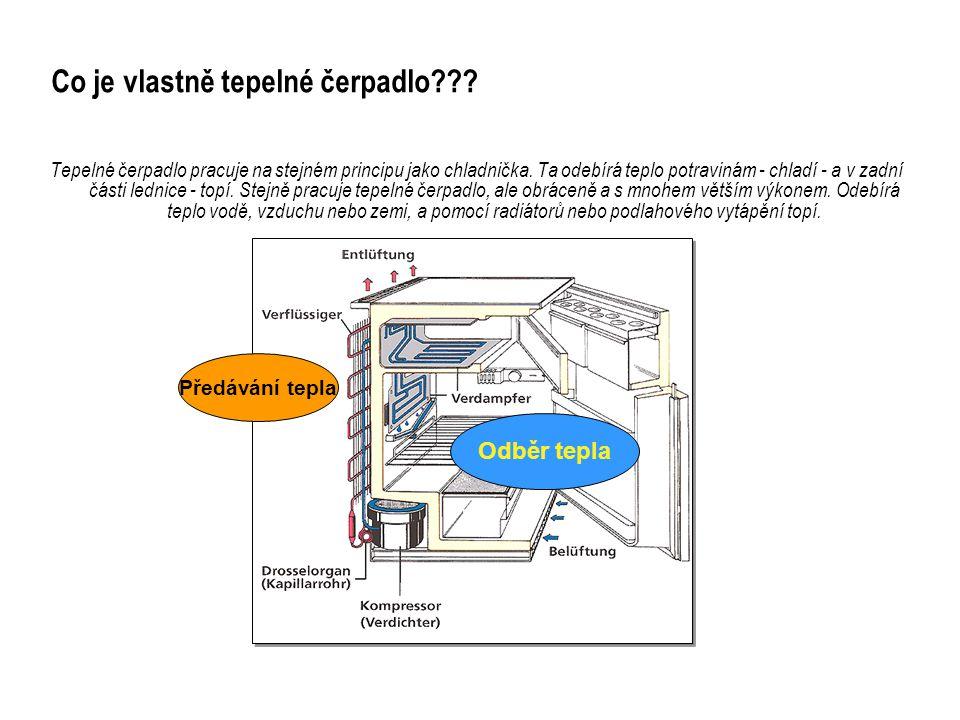 Co je vlastně tepelné čerpadlo??? Tepelné čerpadlo pracuje na stejném principu jako chladnička. Ta odebírá teplo potravinám - chladí - a v zadní části