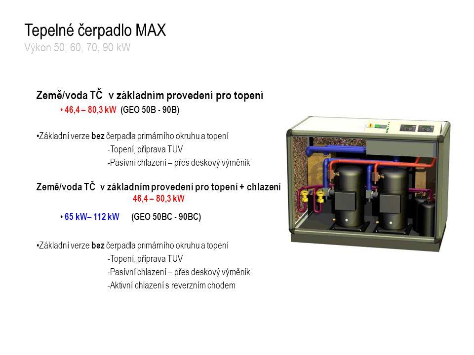 Tepelné čerpadlo MAX Výkon 50, 60, 70, 90 kW Země/voda TČ v základním provedení pro topení 46,4 – 80,3 kW (GEO 50B - 90B) Základní verze bez čerpadla