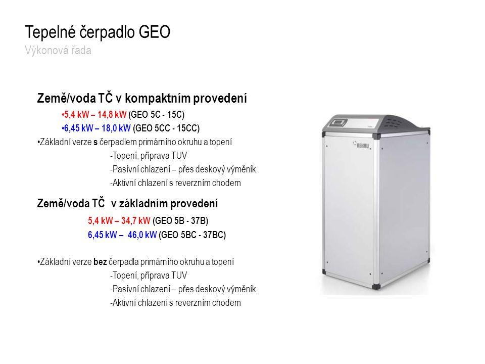 Země/voda TČ v kompaktním provedení 5,4 kW – 14,8 kW (GEO 5C - 15C) 6,45 kW – 18,0 kW (GEO 5CC - 15CC) Základní verze s čerpadlem primárního okruhu a