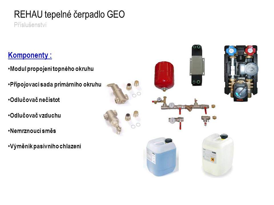 Komponenty : Modul propojení topného okruhu Připojovací sada primárního okruhu Odlučovač nečistot Odlučovač vzduchu Nemrznoucí směs Výměník pasívního