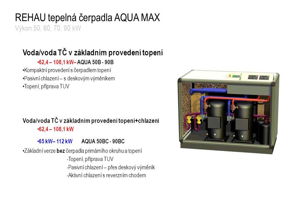 REHAU tepelná čerpadla AQUA MAX Výkon 50, 60, 70, 90 kW Voda/voda TČ v základním provedení topení 62,4 – 108,1 kW– AQUA 50B - 90B Kompaktní provedení