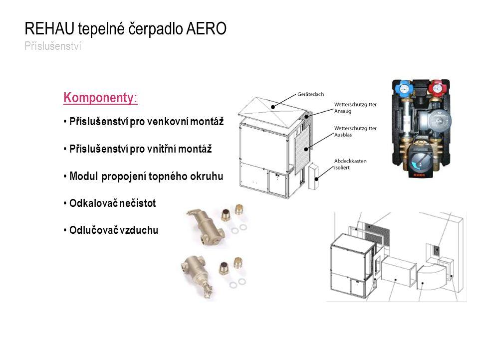 Komponenty: Příslušenství pro venkovní montáž Příslušenství pro vnitřní montáž Modul propojení topného okruhu Odkalovač nečistot Odlučovač vzduchu REH